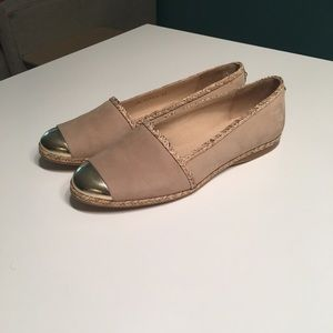 Stuart Weitzman Flats Suede with Gold toe size 9